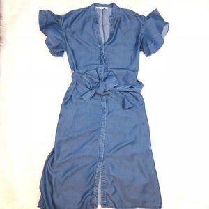 Zara Basic Ruffle Sleeves Belted Maxi Dress
